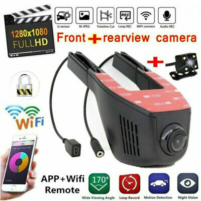 AU67.88 • Buy 1080P HD WiFi Car DVR Front And Rear Lens Dash Cam Video Recorder Camera Cam APP