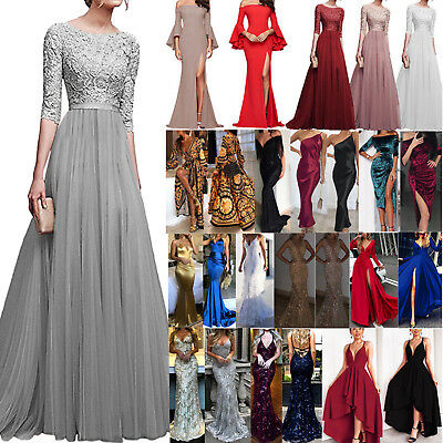 AU29.99 • Buy Womens Evening Formal Party Maxi Dress Bridesmaid Lace Prom Ball Gown Dresses AU