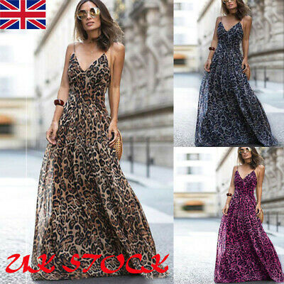 £10.99 • Buy Womens Sexy Strappy Leopard Print Maxi Dress Ladies Summer  Evening Party Dress