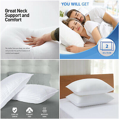 £9.99 • Buy Extra Filled Firm Pillows Head Back & Neck Orthopedic Support Pillow Pair