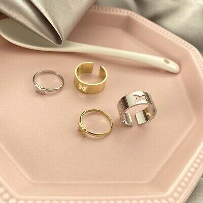 £2.61 • Buy Vintage Butterfly Rings Lover Couple Ring Set Open Cuff Adjustable Jewelry