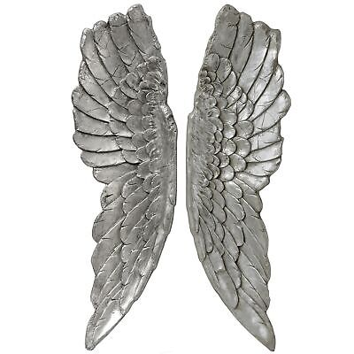 £99.99 • Buy X Large 104cm Antique Silver Angel Wings Wall Mounted Art Decor Hanging Home