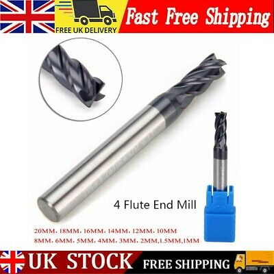 £5.96 • Buy UK Solid Carbide Straight Shank 4-Flute End Mill CNC Milling Cutter Drill Bit