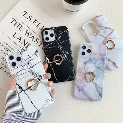 AU11.58 • Buy Marble Case With Diamond Ring Holder Phone For Iphone 7 8 SE X 11 12 Cases Cover