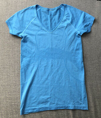 $ CDN10.62 • Buy Mint LULULEMON Shirt Run Swiftly Sz 8 Women's Blue V Neck Short Sleeve Top