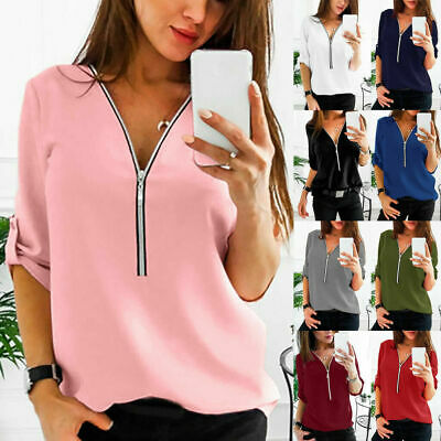 £7.32 • Buy Womens Zip Up V Neck Shirt Ladies Long Sleeve Blouse Casual Longline Tunic Tops