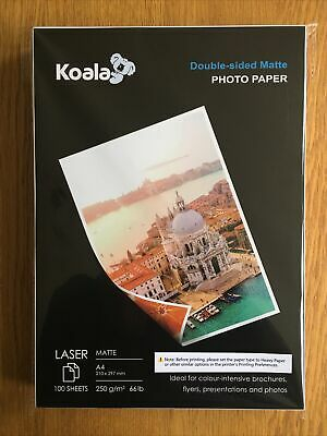 £7.90 • Buy KOALA Double Sided Matte Laser Photo Paper A4,250gsm,100 Sheets For Laser Printe