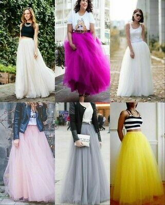5 Layer Tulle Long Skirt Tutu Women Maxi Wedding Skirts Party Prom Underskirt • 18.99£