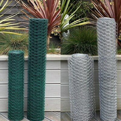 £8.95 • Buy  PVC Coated Or Galvanised Chicken Wire Mesh Netting Rabbit Cage Aviary Net Fence