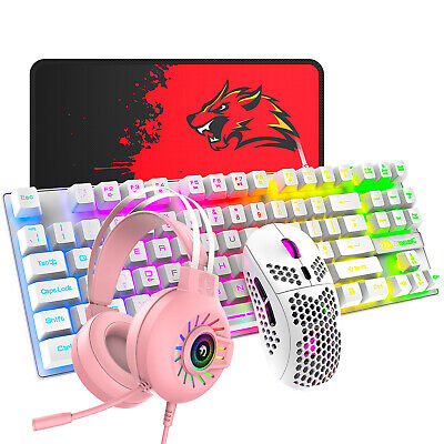 AU76.89 • Buy Wired Gaming Keyboard Mouse And Headset Set RGB Backlit USB For PC PS4 Xbox One