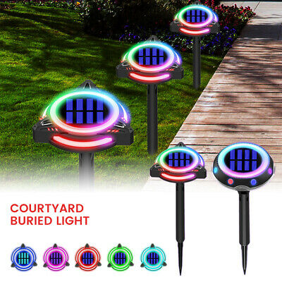 LED Ground Lights Solar Power Colourful Decking Outdoor Garden Lawn Path Lamp UK • 8.99£