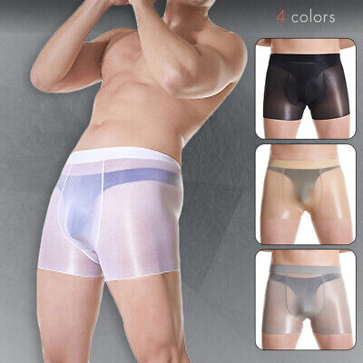 £10.69 • Buy Men Oil Shiny Underwear Glossy Shorts See Through Elastic Boxer Briefs Underpant