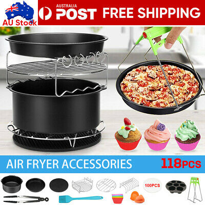 AU22.95 • Buy 13Pcs Set 8  Air Fryer Accessories Cake Pizza BBQ Roast Barbecue Baking Pan Tray