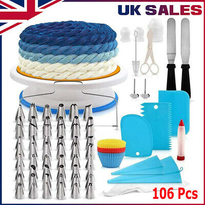 £15.79 • Buy 106pc Home Make Cake Decorating Suppliers Kit Baking Tools Turntable Nozzles Set