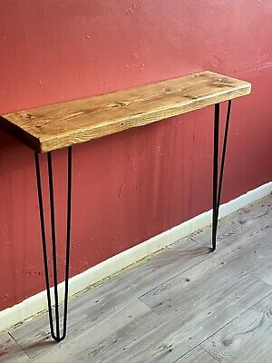 £58.99 • Buy Rustic Industrial Style Console Hall Table Hairpin Legs Inc Solid Chunky Wood