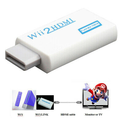 Wii Input To HDMI 1080P Audio Output Converter Adapter Cable 3.5mm White UK • 3.99£
