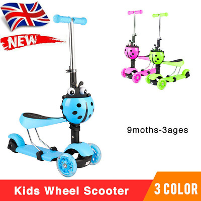 £15.99 • Buy 3 In 1 Kids Child Scooter 3 Wheel Toddler Beginner Kick Scooters Adjustable Seat