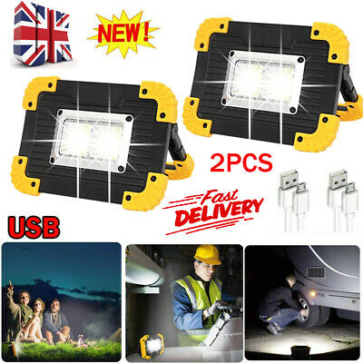 £9.99 • Buy 2X USB Rechargeable LED COB Work Light Outdoor Camping Floodlight Emergency Lamp