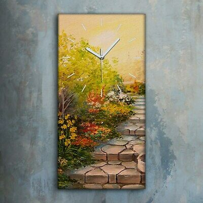 £39.95 • Buy Silent Clock 30x60 Canvas Painting Floral Flowers Trees Nature Sun Wall Decor