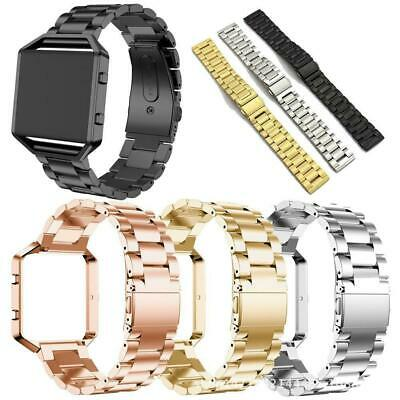 AU12.59 • Buy Stainless Steel Wristwatch Strap Watch Band+Metal Frame Cover For Fitbit Blaze