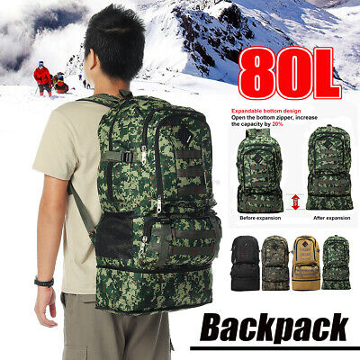 AU19.79 • Buy 80L Outdoor Travel Backpack Sports Bag Waterproof Hiking Luggage Rucksack Bag