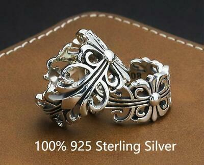 £3.99 • Buy 100% 925 Sterling Silver Ring Chrome Hearts Series Adjustable Size Unisex Gift