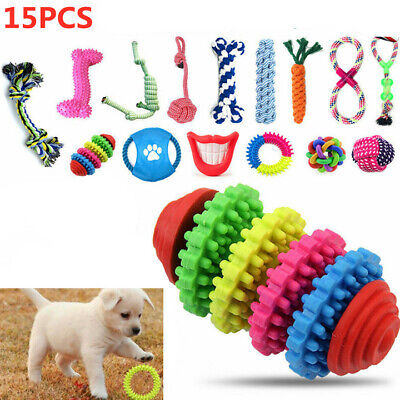 £12.39 • Buy 15X Tough Dog Toys Bundle Chew Rope Knot Ball Squeakers Pet Puppy Teething UK