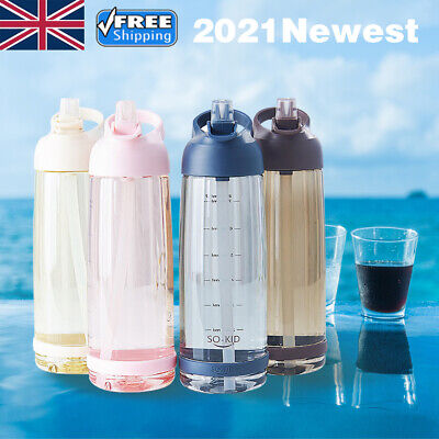 £7.69 • Buy Portable Sports Water Bottle With Straw Outdoor Travel Plastic Drinks Mugs UK