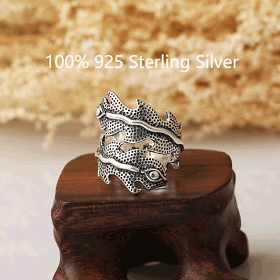 £3.29 • Buy 925 Silver Plated Tibetan Silver Retro Peacock Feather Ring Adjustable Unisex
