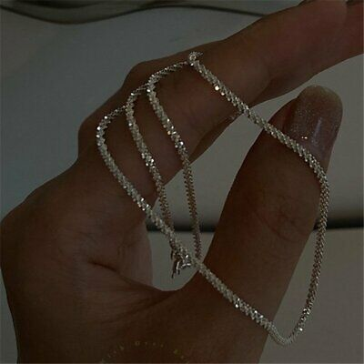 AU2.34 • Buy Fashion 925 Silver Gypsophila Flash Chain Necklace Clavicle Women Jewelry Gifts