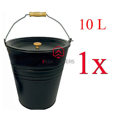 £9.99 • Buy New 10L Large  Ash Bucket Lid  With Carrying Handle Black Coal Storage Bin