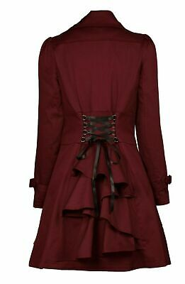 £49.99 • Buy Size 14 Burgundy Red Victorian Riding Jacket Coat Gothic Steampunk Larp Uk Sell