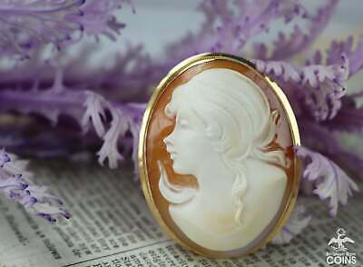 $275 • Buy M+M Scognamiglio 14k Yellow Gold Carnelian Carved Shell Cameo Brooch Pendant
