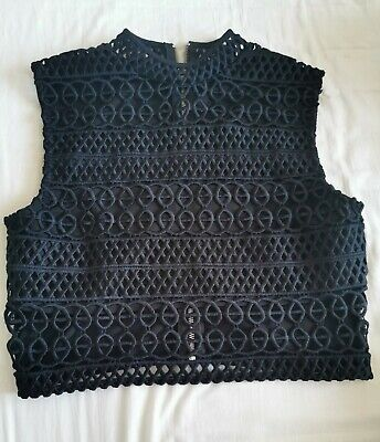 £4.50 • Buy Lace Cage Crop Top River Island Size 14 Black RRP £28
