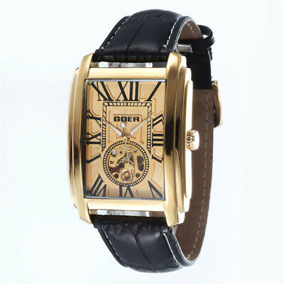 £22.31 • Buy Luxury Automatic Mechanical Men Wrist Watch Leather Band Rectangle Dial Skeleton