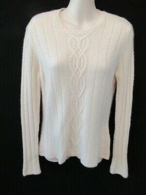 $19.95 • Buy Lands End 100% Cashmere Cream Crew Neck Sweater S 6 8 May Fit XS