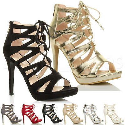 £9.99 • Buy Womens Ladies High Heel Platform Lace Up Caged Ghillie Sandals Size