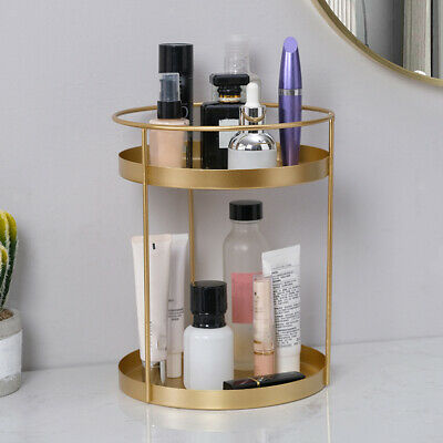 £16.25 • Buy Makeup Organizer Simple Golden Cosmetic Storage Rack Perfume Stand Tray