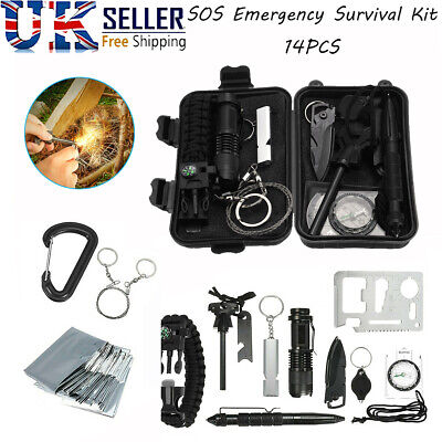 £15.59 • Buy 14 In 1 Emergency Equipment Box SOS Gear Kit Set Tool Outdoor Camping Survival