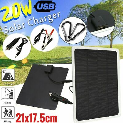 £13.99 • Buy 12V/20W Outdoor Battery Charger Portable Solar Panel Trickle Car Boat Supply Top