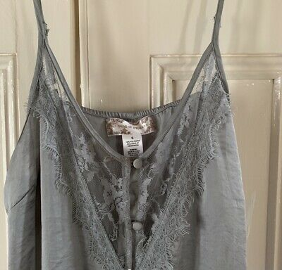 £22 • Buy Topshop Band Of Gypsies Button Through Grey Cami Dress With Lace Detail, Small