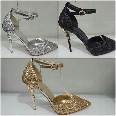 £9.99 • Buy Ladies Diamante Strappy Stiletto Sandal Shimmer Party Heels Shoes Women Size New