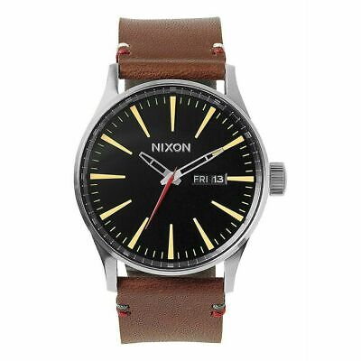 £60.39 • Buy Nixon Sentry Men's 42mm Stainless Black Dial Brown Leather Watch A105-019