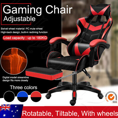 AU99.99 • Buy Gaming Chair Office Chair Computer Executive Chairs Seating Racing Footrest Oz
