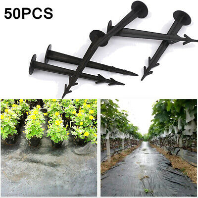 £6.29 • Buy 50Pcs Black Plastic Stakes Pegs Ground Nail Fixed Pegs Garden Weed Membrane