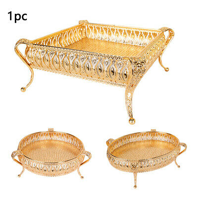 £15.64 • Buy Jewelry Display Golden Plate Dessert Fruit Home Table Storage Tray Decorative