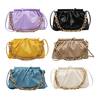 Women Pleated Chain Shoulder Bag Cloud Crossbody Totes PU Leather Handbag Pouch • 9.02£