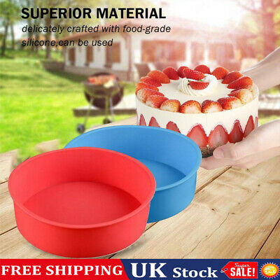 £4.50 • Buy 4inch Silicone Round Cake Pan Tins Non-stick Baking Mould Bakeware Tray UK (Red)
