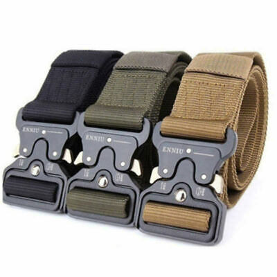 £6.99 • Buy Men Quick Release Military Tactical Belts Nylon Buckle Webbing Trouser Riggers