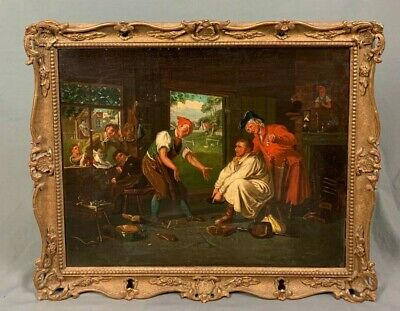 £360 • Buy 19th Century Figural Oil Painting The Cobbler Circle Of Charles Hunt 1829-1900
